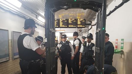 The knife arch at Hackney Downs station. Picture: Met Police