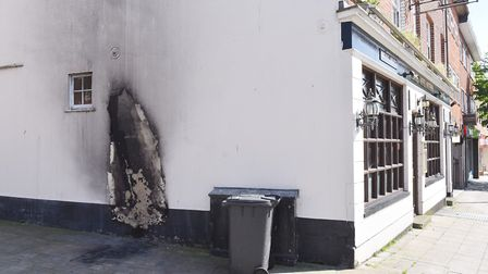 Scene of a mobility scooter fire near The Volunteer pub on London Road North, Lowestoft. Picture: Ni