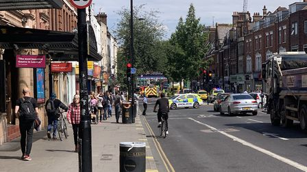 The scene in Mare Street after a woman was hit by a recovery vehicle. Picture: Matt Smith