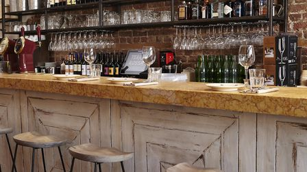 The bar inside Terra Rossa, which features a well-stocked range of Italian wines.