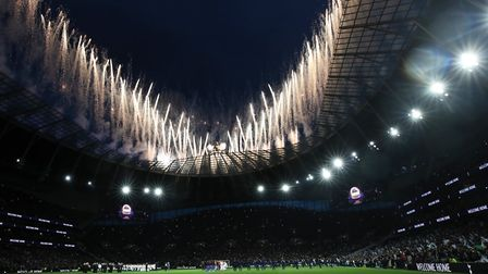 A fireworks display at Tottenham Hotspur Stadium ahead of the opening first-team fixture against Cry