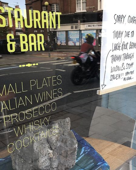 """The """"meteorite"""" in the window of Crouch End restaurant Irvin Bar Grill. Picture: Imogen Braddick"""