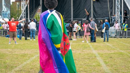 Flag of Dominica and Pride at UK Black Pride at the main stage. Picture: Siorna Ashby