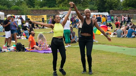 Dancing in the crowds at UK Black Pride with Bollocks to Brexit in the background. Picture: Siorna A