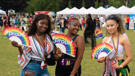 Proud rainbow fans were welcomed as the sun came out in the afternoon at UK Black Pride. Picture: Si