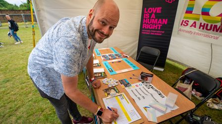 Hackney Mayor philip Glanville signs up for Amnesty International's Rainbow Network. Picture: Siorna