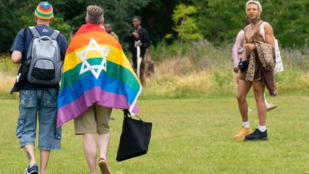 Pride rainbow flag with the Star of David at UK Black Pride. Picture: Siorna Ashby