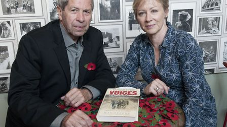 Max Arthur and Lindsey Coulson taking part in ArtHouse Remembrance Sunday event, Voices of War. Pict