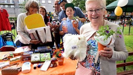 Jester Festival in Fortune Green 06.07.19.WHeart tombola stand run by Sally Bowman (left back), ra