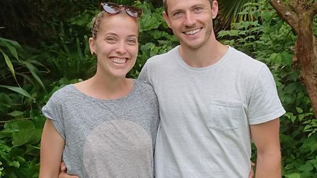 Hannah Joy and Ty Tooze are set to marry at Henstead Exotic Garden. Picture: Andrew Brogan