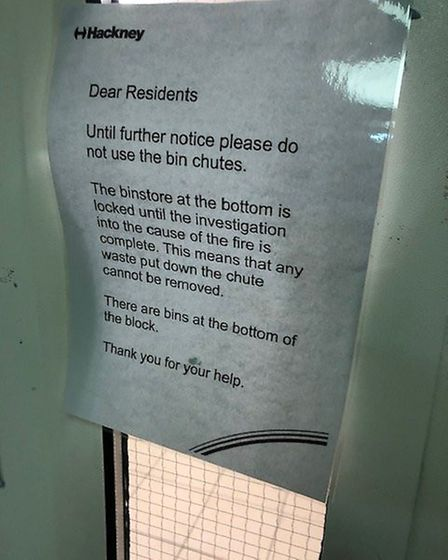 The notice pinned up in Fellows Court. Picture: Dave Coleman