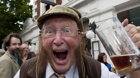 John McCririck during the campaign to save The Engineer pub, in Primrose Hill. Picture: Nigel Sutton