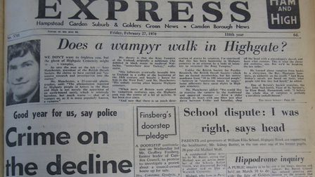 The story of the Highgate vampire featured on the front page of the February 27 1970 edition of the
