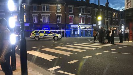 The scene of a stabbing in Middle Lane, Crouch End. Picture: Helen Clarke