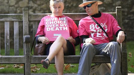 Protesters outside the Houses of Parliament in London as MPs debated and voted on the Assisted Dying