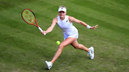 Harriet Dart in action on day two of the Wimbledon Championships at the All England Lawn Tennis and
