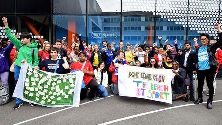 Campaigners marched From Hackney Wick Overground station to BT Sport's HQ calling for more career op
