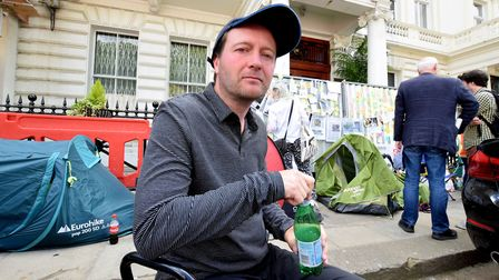 Richard Ratcliffe continues his hunger strike outside the Iranian embassy in London. Picture: Polly
