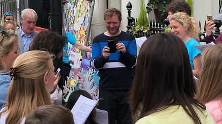 Songs for Nazanin outside of the Iranian Embassy. Picture: Free Nazanin campaign