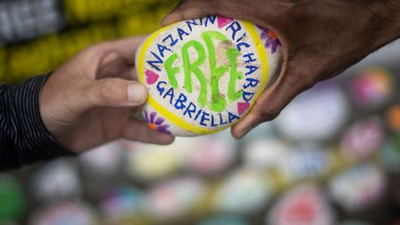 Painted stones in support of Richard Ratcliffe, the husband of detained Nazanin Zaghari Ratcliffe, o