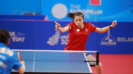 Tin-Tin Ho in action in the women's singles at the European Games in Minsk (pic ITTF/Remy Gros)