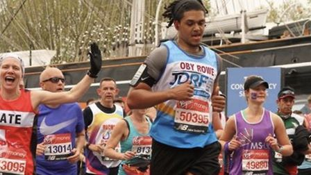 Haringey Borough footballer Coby Rowe completed the London Marathon in April and raised money for JD