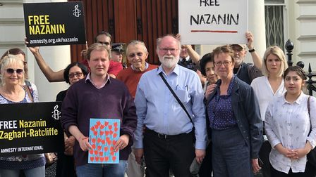 Supporters join Richard Ratcliffe outside of the Iranian Embassy. Picture: Linda Grove