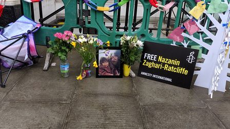 Tributes to Nazanin outside where Richard is camping at the Iranian Embassy. Picture: Sam Volpe