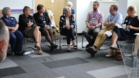 Patricia Hewitt discusses healthcare in Norfolk and Waveney with staff from East Coast Community Hea