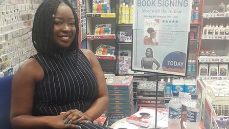 Ebony at a book signing event at a WH Smith's store earlier this year.