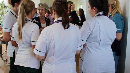 Patricia Hewitt chats to nurses and therapists from East Coast Community HealthcarePicture: ECCH
