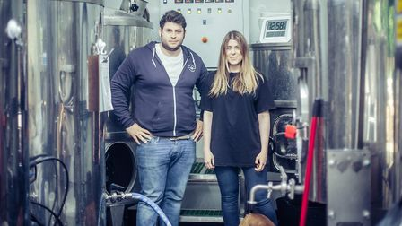 Rob Laub and his sister Samantha with his bulldog Rodney, at the brewery in Highgate. Picture: Gorge