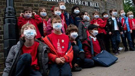 Christchurch Primary School children protest proposed road layout changes some fear would route more