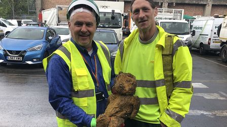 Glen Whitby and Steve Large at Millfields Depot, with Grazebrook Primary School's recovered teddy be