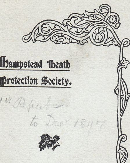 The cover of the Heath and Hampstead Society's first every annual report. Picture: Heath and Hampste