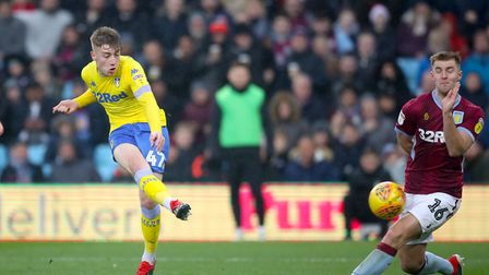 Leeds United's Jack Clarke scores his side's first goal of the game during the Championship match ag