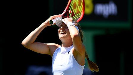 Harriet Dart celebrates victory over Beatriz Haddad Maia on day four of the Wimbledon Championships