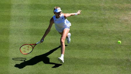 Harriet Dart in action against Beatriz Haddad Maia on day four of the Wimbledon Championships at the