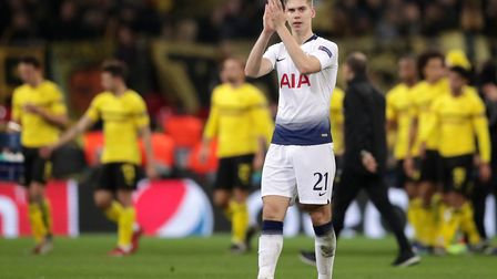 Tottenham Hotspur's Juan Foyth reacts after the final whistle of the Champions League round of 16, f