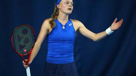 Harriet Dart reacts during day six of the Nature Valley Open at Nottingham Tennis Centre (pic Nigel