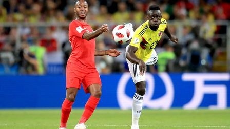 England's Raheem Sterling (left) and Colombia's Davinson Sanchez battle for the ball (pic: Adam Davy