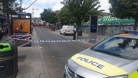 Police have still cordoned off Camden High Street. Picture: Harry Taylor