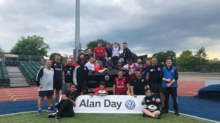 Saracens rugby players Alex Goode, Jackson Wray and Alex Lozowski took part in an end of season trai