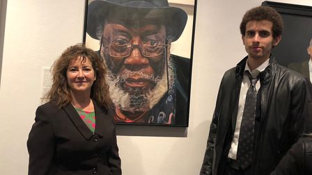 Tedi Lena with Principal HSoA Isabel H Langtry at the National PortraitGallery PV of the BP Portrait