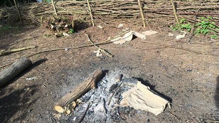 Part of a fence built by Hackney Marsh User Group to protect animals was used as kindling for a fire