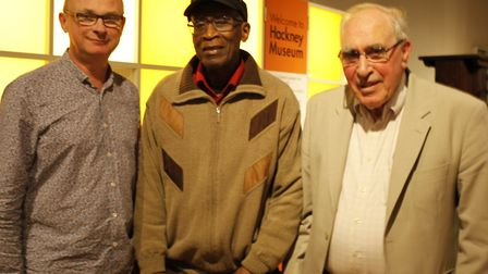 Chair of the Windrush Foundation, Arthur Torrington, and with Tim and Derek Smith at a Hackney Counc