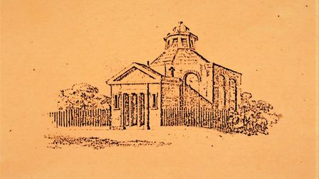 A line drawing of the New Gravel Pit Chapel building erected in 1809 and demolished in 1857 to make
