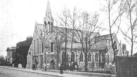 The New Gravel Pit Unitarian Chapel built circa 1858 in Chatham Place, and pulled down in 1970 afte