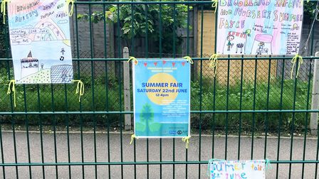 Posters designed by pupils advertise the fair and Brooklands Infants and Nursery School. Picture: Br