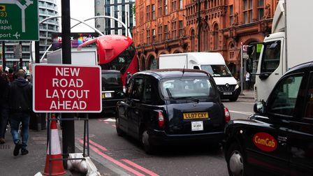 Traffic works at Old Street roundabout. Picture: Joshua Thurston